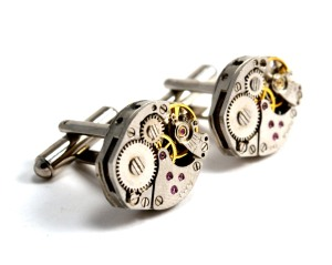 Steampunk cufflinks by Chanchala. Available Sat 8th & Sun 9th Dec, priced from £30-£40 made from broken vintage wristwatch movements.