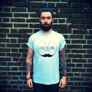 Cool Mo Bro printed t-shirt by Vacant Echo. Available Sat 8th & Sun 9th Dec, these hand-printed t-shirts will be £12, plus designs also available on sweatshirts.